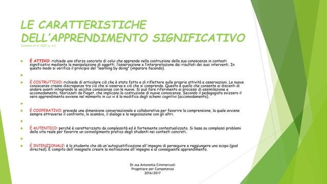 LE CARATTERISTICHE DELL'APPRENDIMENTO SIGNIFICATIVOJonassen et al. 2007, p. ivi).  È ATTIVO: richiede uno sforzo concreto...