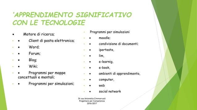 'APPRENDIMENTO SIGNIFICATIVO CON LE TECNOLOGIE · Motore di ricerca; • · Client di posta elettronica; • · Word; • · Forum; ...