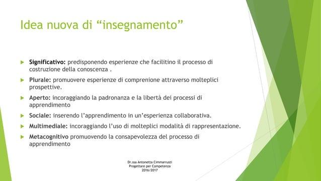 """Idea nuova di """"insegnamento""""  Significativo: predisponendo esperienze che facilitino il processo di costruzione della con..."""