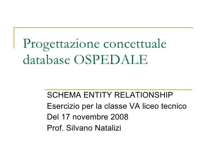 Progettazione concettuale database OSPEDALE SCHEMA ENTITY RELATIONSHIP Esercizio per la classe VA liceo tecnico Del 17 nov...