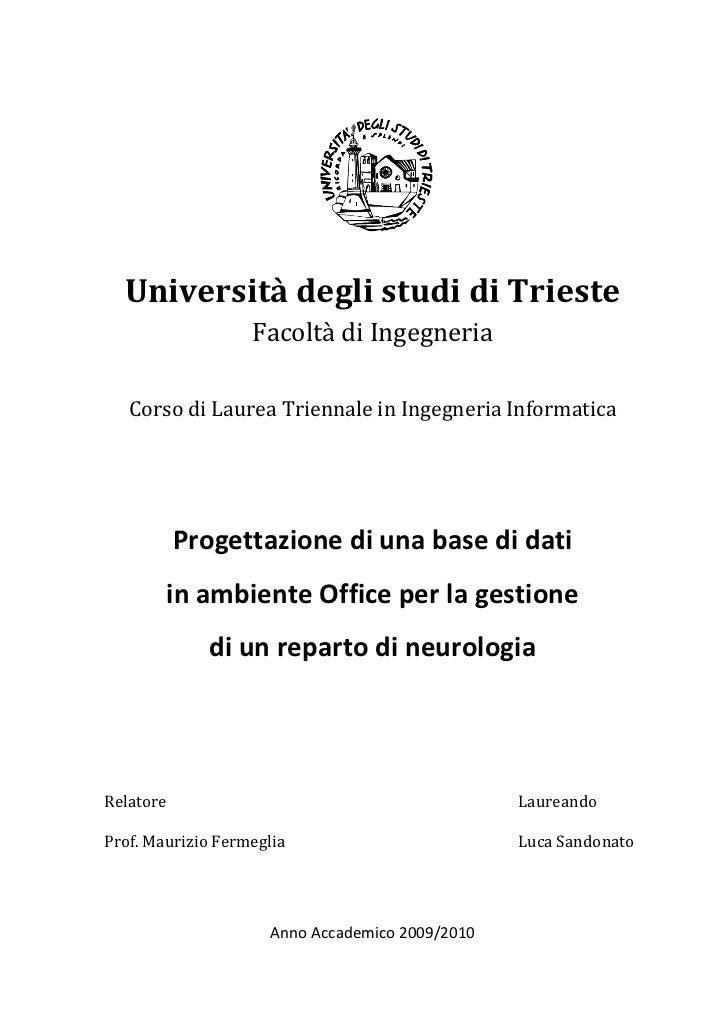 Università degli studi di Trieste                   Facoltà di Ingegneria   Corso di Laurea Triennale in Ingegneria Inform...