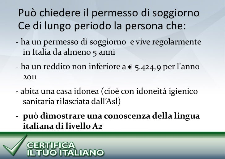 Permesso Soggiorno Lungo Periodo Reddito : Progetti cti e vivere in italia