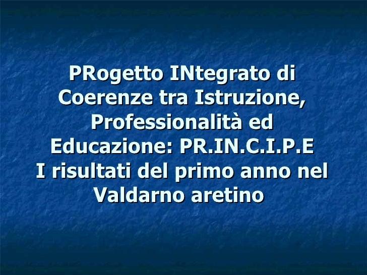 PRogetto INtegrato di    Coerenze tra Istruzione,       Professionalità ed   Educazione: PR.IN.C.I.P.E I risultati del pri...