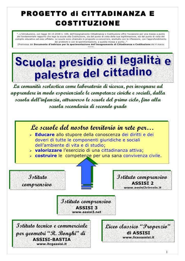 """PROGETTO di CITTADINANZA E              COSTITUZIONE    """"…L'introduzione, con legge 30.10.2008 n. 169, dell'insegnamento C..."""