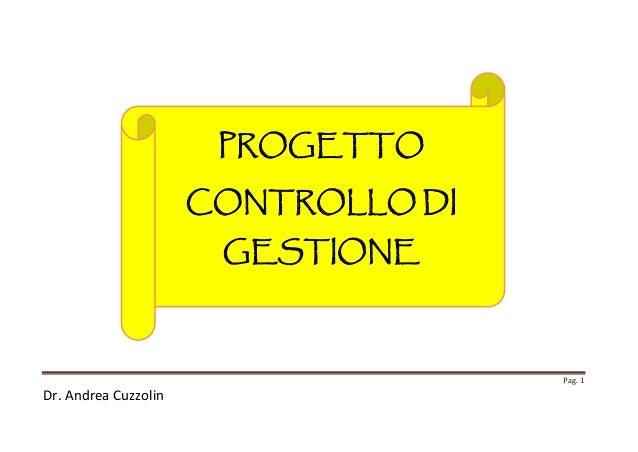 PROGETTO CONTROLLO DI GESTIONE  Pag. 1  Dr. Andrea Cuzzolin