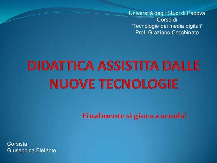 """Università degli Studi di Padova                                              Corso di                                   """"..."""
