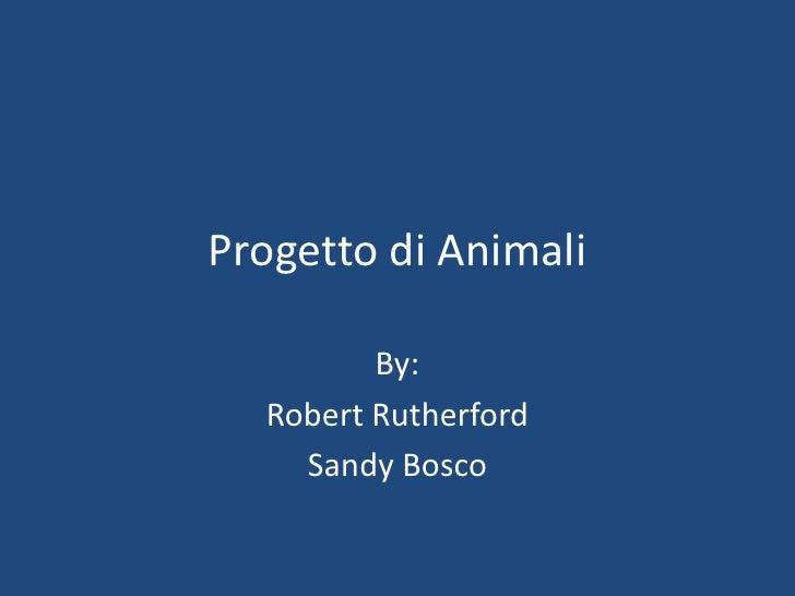 Progetto di Animali           By:   Robert Rutherford     Sandy Bosco