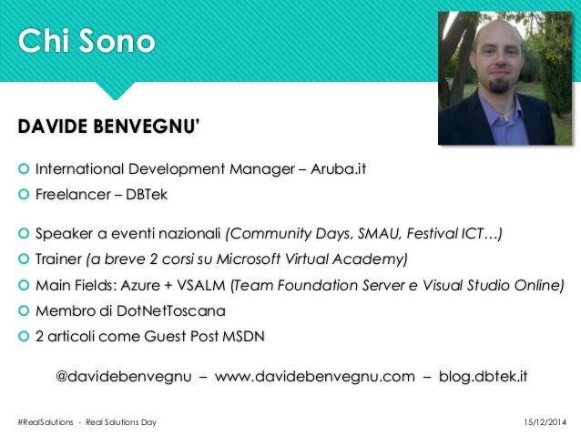 Real Solutions Day - Progetto e gestione del lavoro: ALM in breve con Visual Studio Online Slide 2
