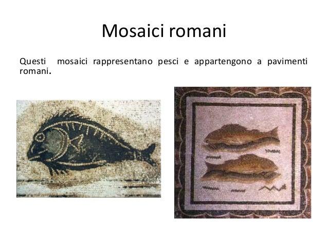 Mosaici romani Questi mosaici rappresentano pesci e appartengono a pavimenti romani.