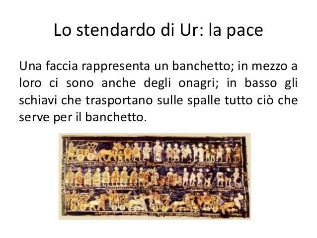 Lo stendardo di Ur: la pace Una faccia rappresenta un banchetto; in mezzo a loro ci sono anche degli onagri; in basso gli ...