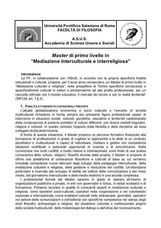 Università Pontificia Salesiana di Roma                            FACOLTÀ DI FILOSOFIA                                   ...