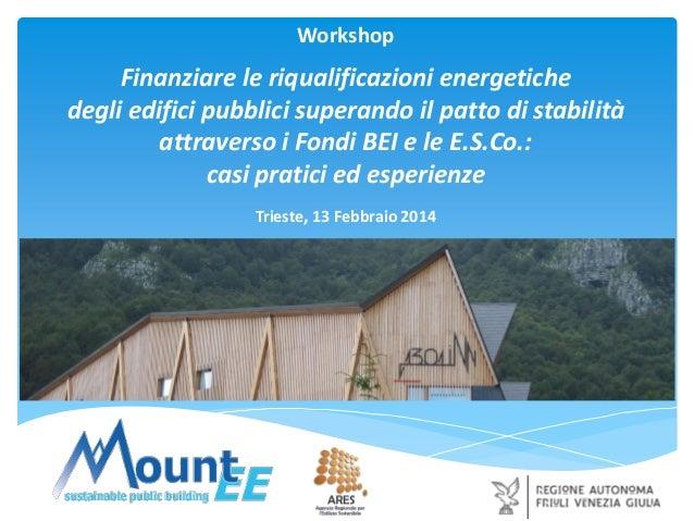 Workshop  Finanziare le riqualificazioni energetiche degli edifici pubblici superando il patto di stabilità attraverso i F...