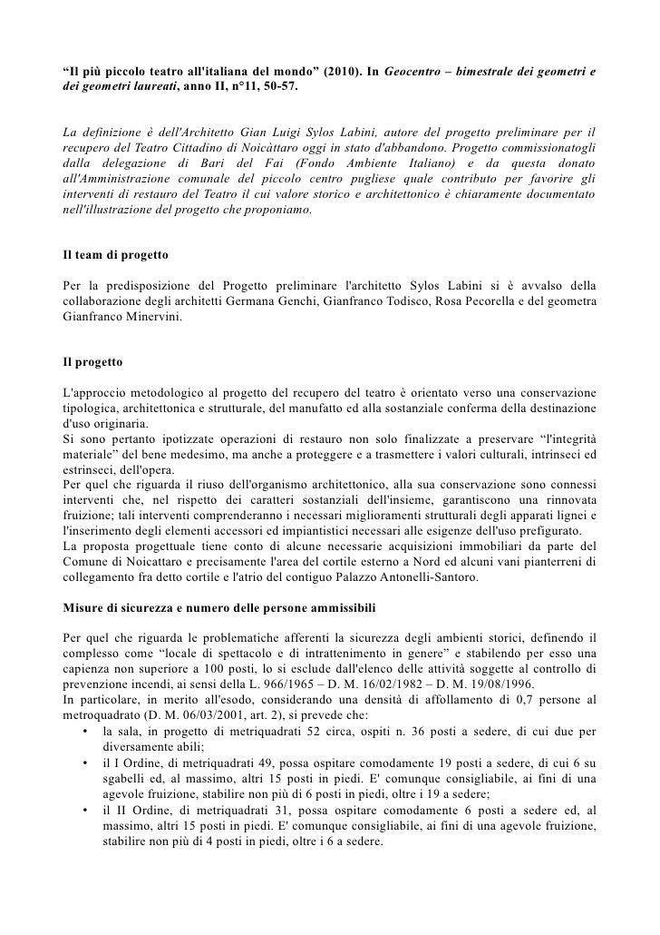 """""""Il più piccolo teatro allitaliana del mondo"""" (2010). In Geocentro – bimestrale dei geometri edei geometri laureati, anno ..."""