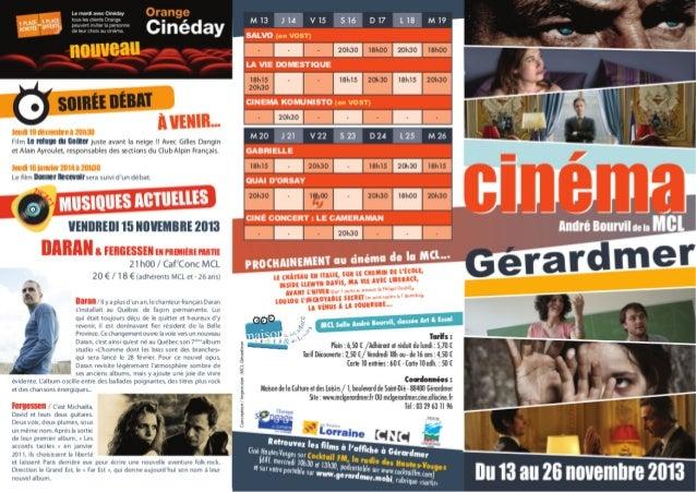 Programme Ciné du 13 au 26 novembre 2013 MCL de Gérardmer