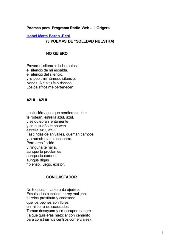 """Poemas para Programa Radio Web – I. Odgers Isabel Matta Bazan -Perú (3 POEMAS DE """"SOLEDAD NUESTRA) NO QUIERO Preveo el sil..."""