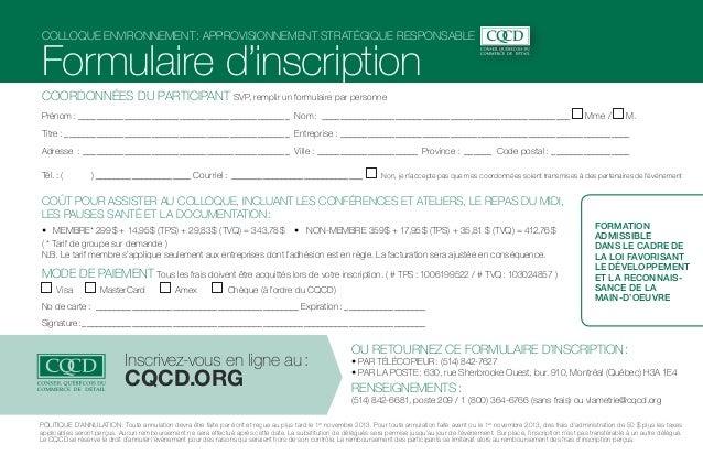 Colloque environnement: Approvisionnement stratégique responsable  Formulaire d'inscription COORDONNÉES DU PARTICIPANT SV...