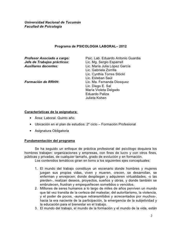 Universidad Nacional de TucumánFacultad de PsicologíaCátedra de Psicología Laboral / Organizacional - Linea docencia-servi...