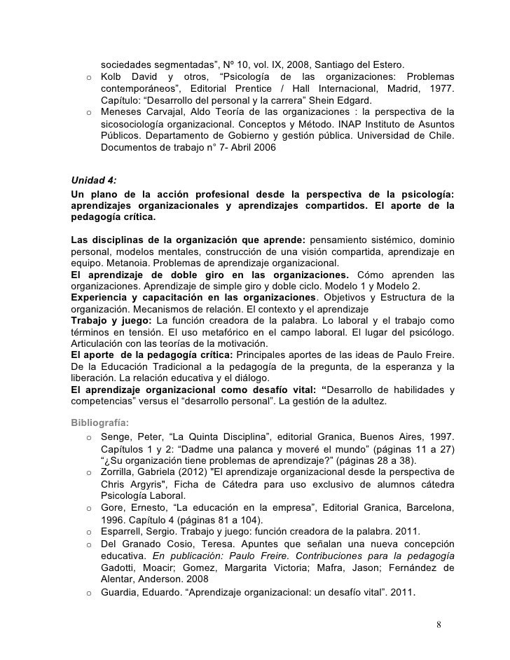 """sociedades segmentadas"""", Nº 10, vol. IX, 2008, Santiago del Estero.   o Kolb David y otros, """"Psicología de las organizacio..."""