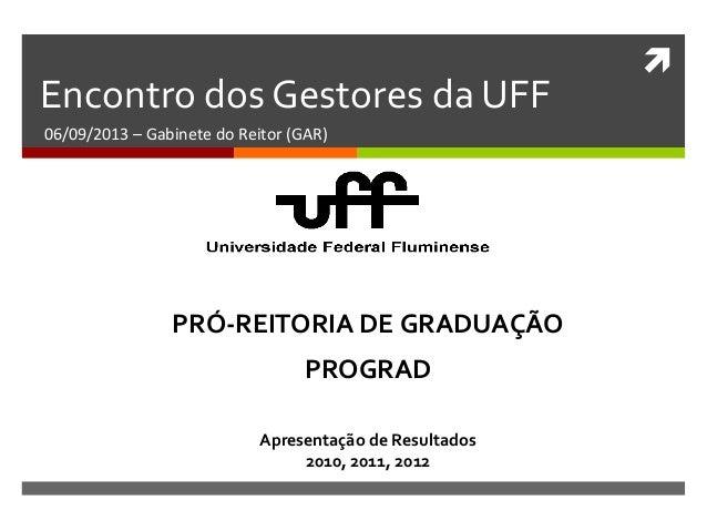 Encontro dos Gestores da UFF 06/09/2013 – Gabinete do Reitor (GAR) PRÓ-REITORIA DE GRADUAÇÃO PROGRAD Apresentação de Res...