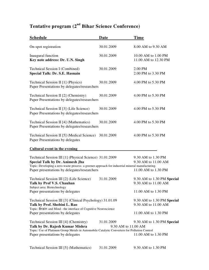 Tentative program (2nd Bihar Science Conference)  Schedule                                            Date                ...