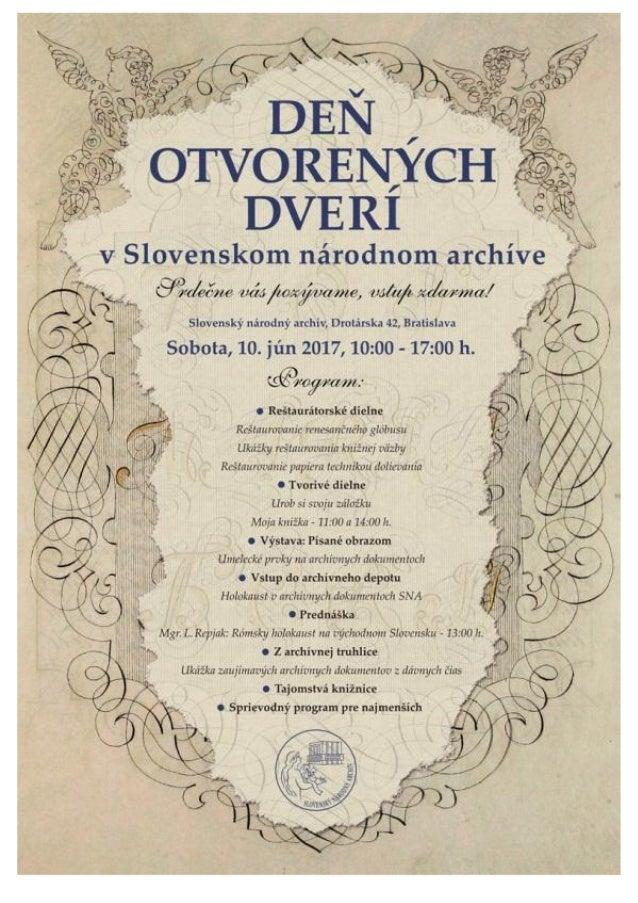 Program Dňa otvorených dverí v Slovenskom národnom archíve 2017