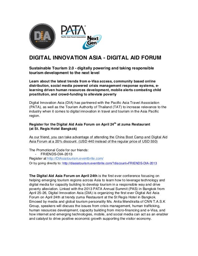DIGITAL INNOVATION ASIA - DIGITAL AID FORUMSustainable Tourism 2.0 - digitally powering and taking ...