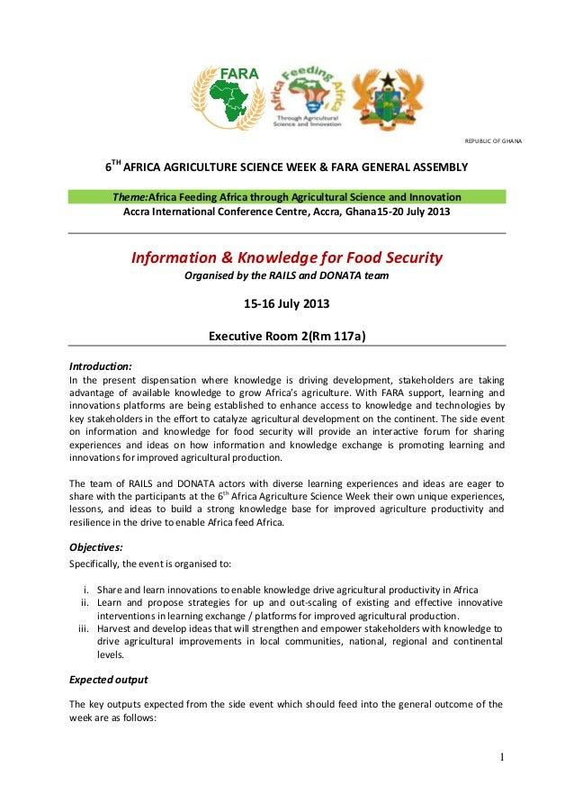 1 6TH AFRICA AGRICULTURE SCIENCE WEEK & FARA GENERAL ASSEMBLY Theme:Africa Feeding Africa through Agricultural Science and...