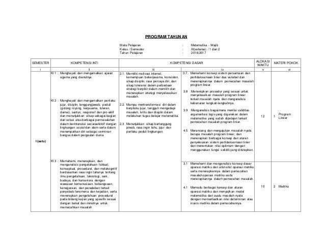Program Tahunan Matematika Sma Kelas Xi Kurikulum 2013 Wajib