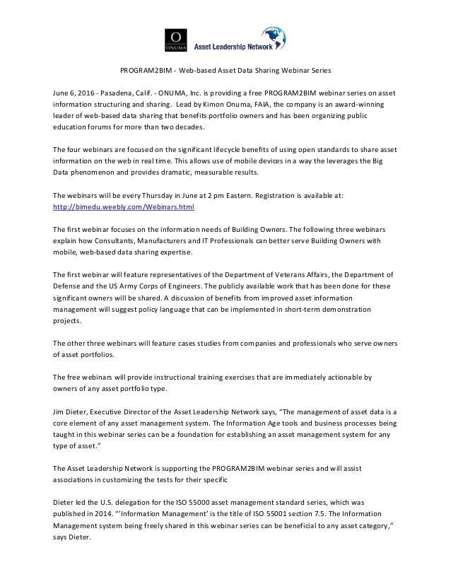 PROGRAM2BIM - Web-based Asset Data Sharing Webinar Series June 6, 2016 - Pasadena, Calif. - ONUMA, Inc. is providing a fre...