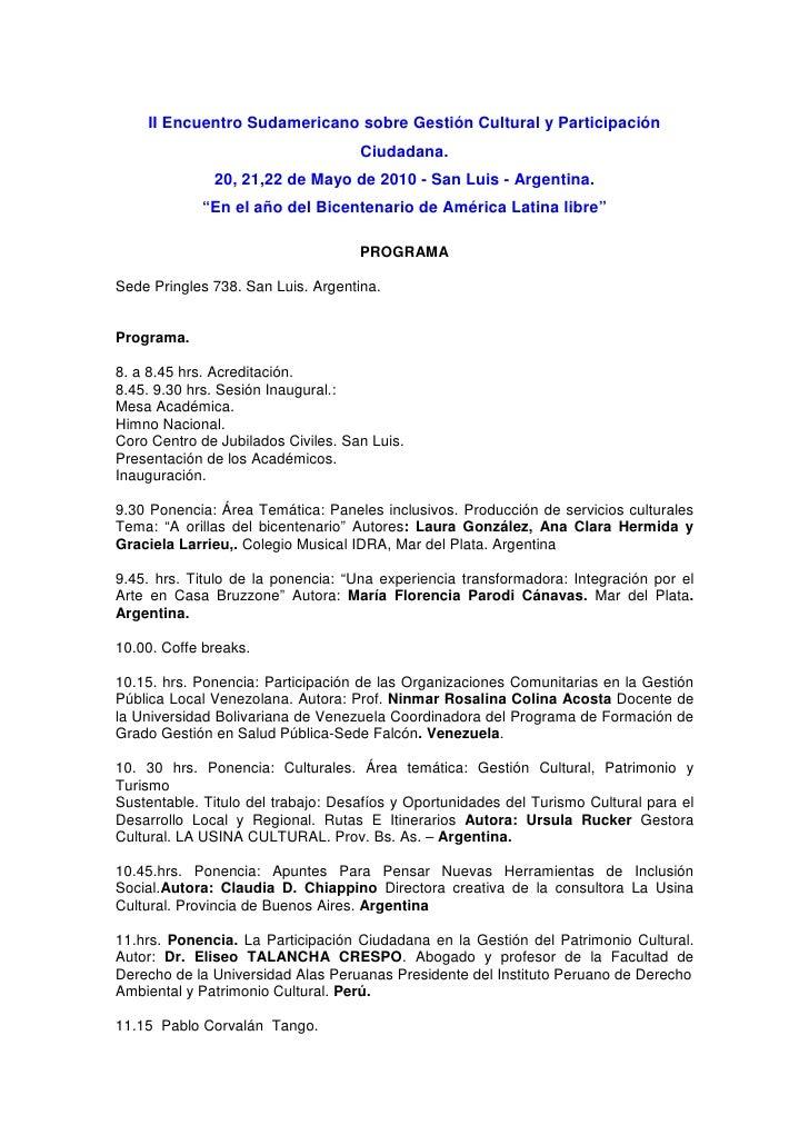 II Encuentro Sudamericano sobre Gestión Cultural y Participación                                     Ciudadana.           ...