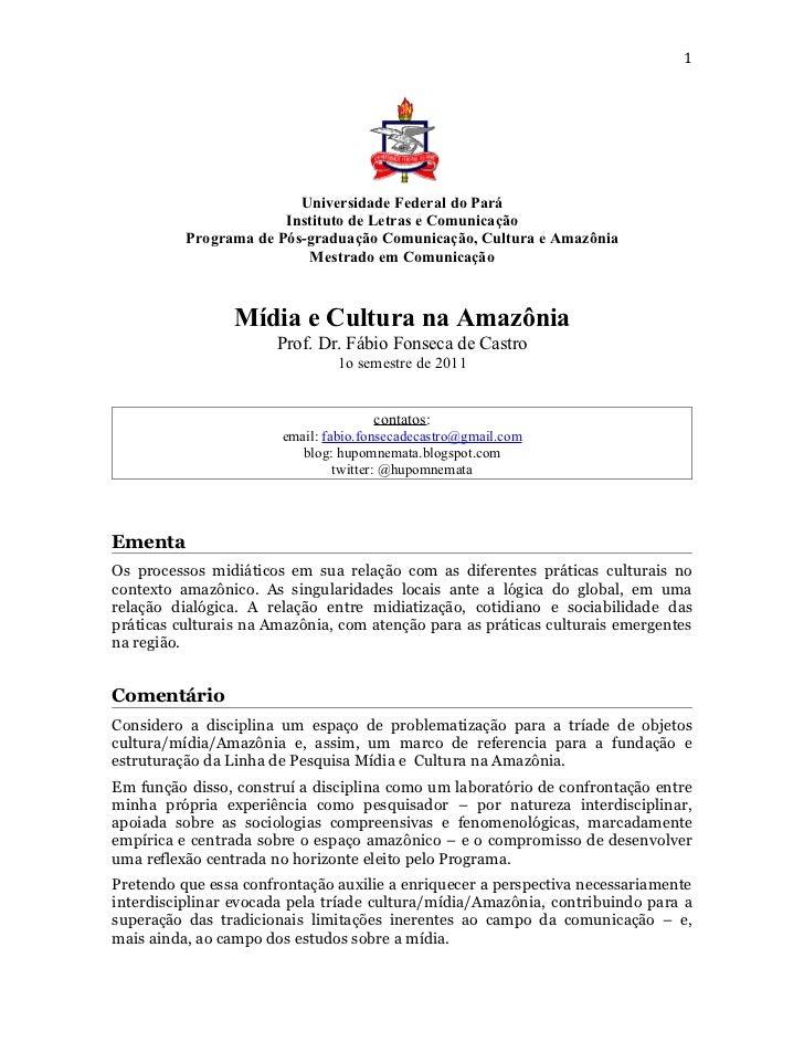 1                         Universidade Federal do Pará                       Instituto de Letras e Comunicação          Pr...