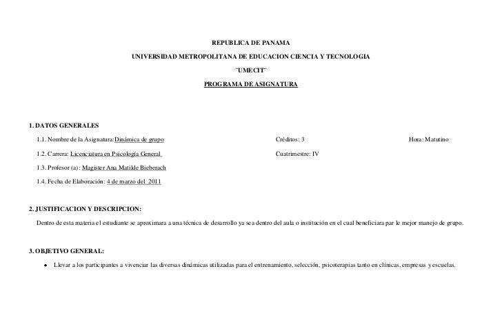 REPUBLICA DE PANAMA<br />UNIVERSIDAD METROPOLITANA DE EDUCACION CIENCIA Y TECNOLOGIA<br />¨UMECIT¨<br />PROGRAMA DE ASIGNA...
