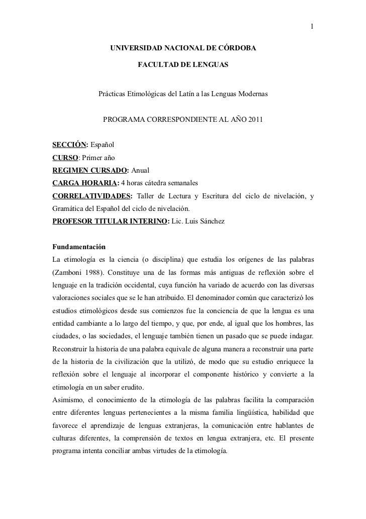 1                   UNIVERSIDAD NACIONAL DE CÓRDOBA                            FACULTAD DE LENGUAS               Prácticas...