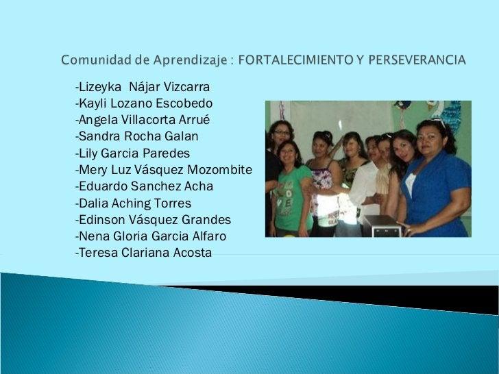 -Lizeyka  Nájar Vizcarra  -Kayli Lozano Escobedo -Angela Villacorta Arrué -Sandra Rocha Galan -Lily Garcia Paredes -Mery L...