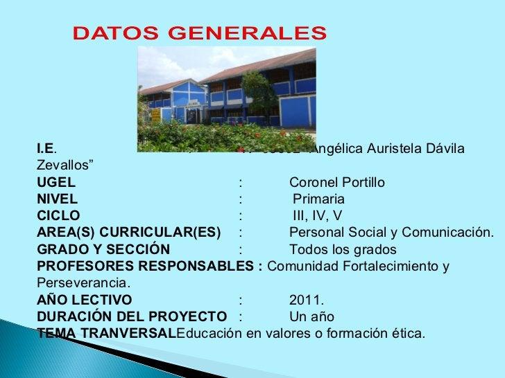 """I.E . :  Nº 65002 """"Angélica Auristela Dávila Zevallos"""" UGEL : Coronel Portillo NIVEL :  Primaria CICLO :  III, IV, V AREA(..."""