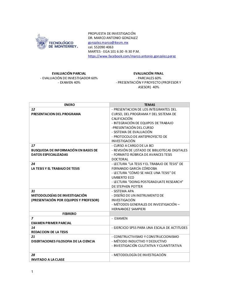 PROPUESTA DE INVESTIGACIÓN                                 DR. MARCO ANTONIO GONZALEZ                                 gonz...
