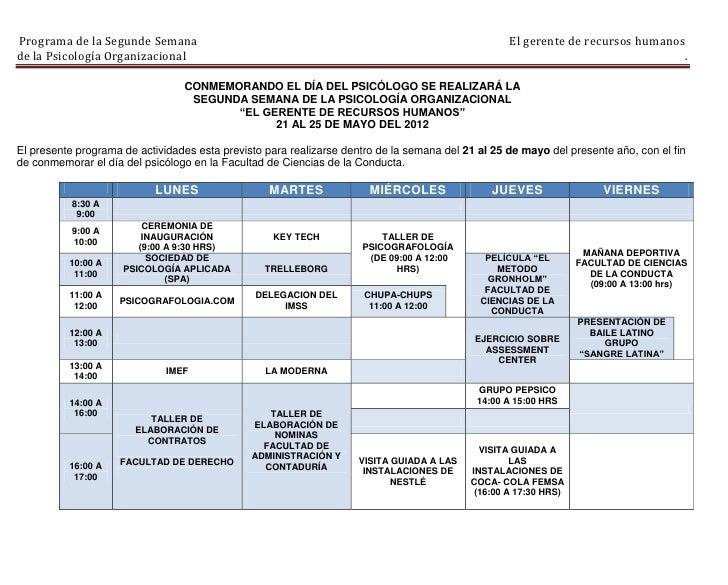 Programa de la Segunde Semana                                                                      El gerente de recursos ...