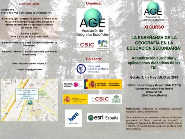 XI Curso sobre la Enseñanza de la Geografía en la Educación Secundaria