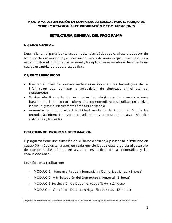 PROGRAMA DE FORMACIÓN EN COMPETENCIAS BÁSICAS PARA EL MANEJO DE          MEDIOS Y TECNOLOGÍAS DE INFORMACIÓN Y COMUNICACIO...