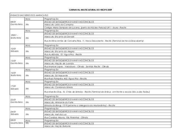CARNAVAL MULTICULTURAL DO RECIFE 2009 ENSAIOS NAS SEDES DOS MARACATUS 08/01 Quinta-feira Hora Programação 19h ENSAIO DE BA...