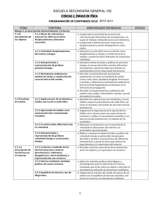 CIENCIAS 2, ÉNFASIS EN FÍSICACIENCIAS 2, ÉNFASIS EN FÍSICA ESCUELA SECUNDARIA GENERAL 105 2013 2014 1 PROGRAMACIÓN DE CONT...