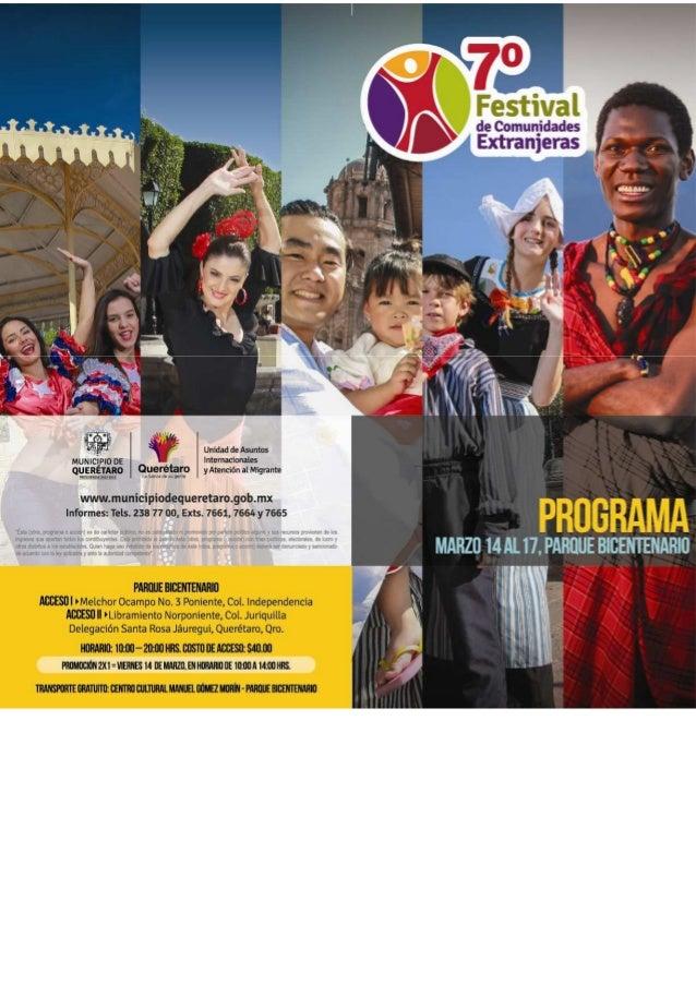 Programa 7mo. Festival de Comunidades Extranjeras en Querétaro