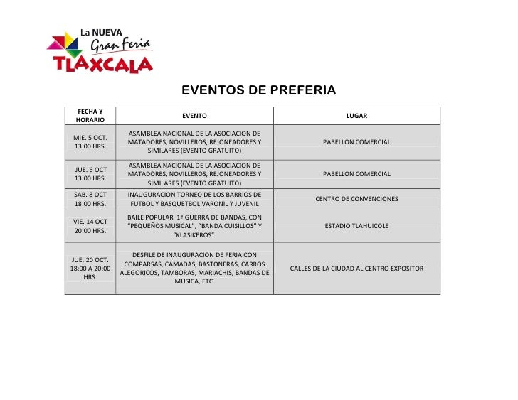 EVENTOS DE PREFERIA FECHA Y                                 EVENTO                                      LUGAR HORARIO     ...