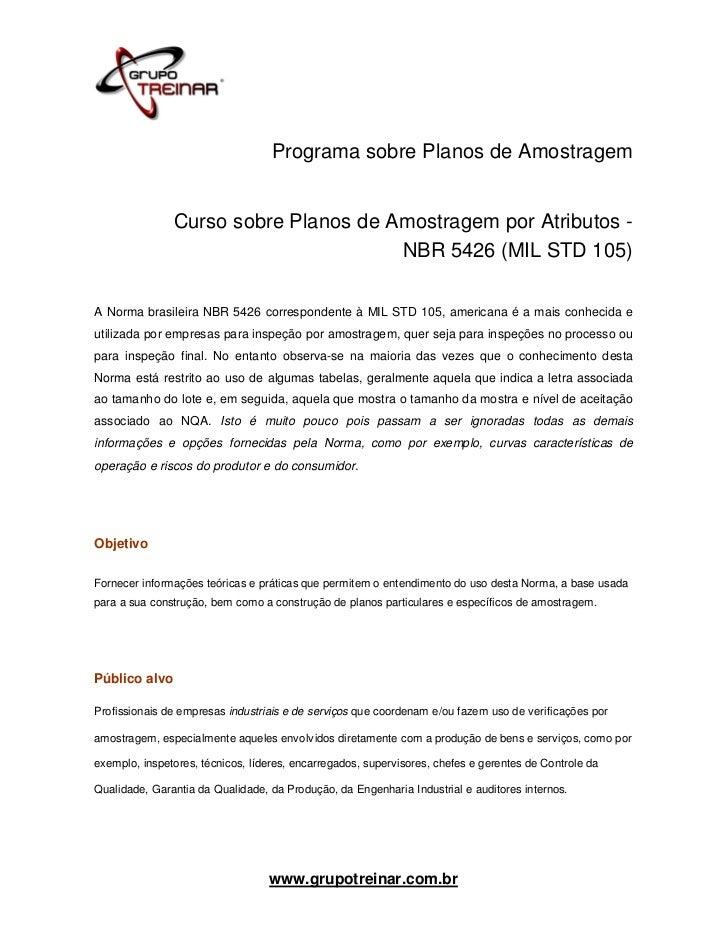 Programa sobre Planos de Amostragem               Curso sobre Planos de Amostragem por Atributos -                        ...