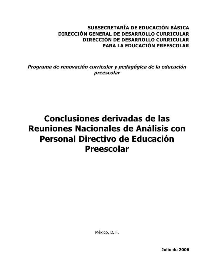 SUBSECRETARÍA DE EDUCACIÓN BÁSICA             DIRECCIÓN GENERAL DE DESARROLLO CURRICULAR                     DIRECCIÓN DE ...