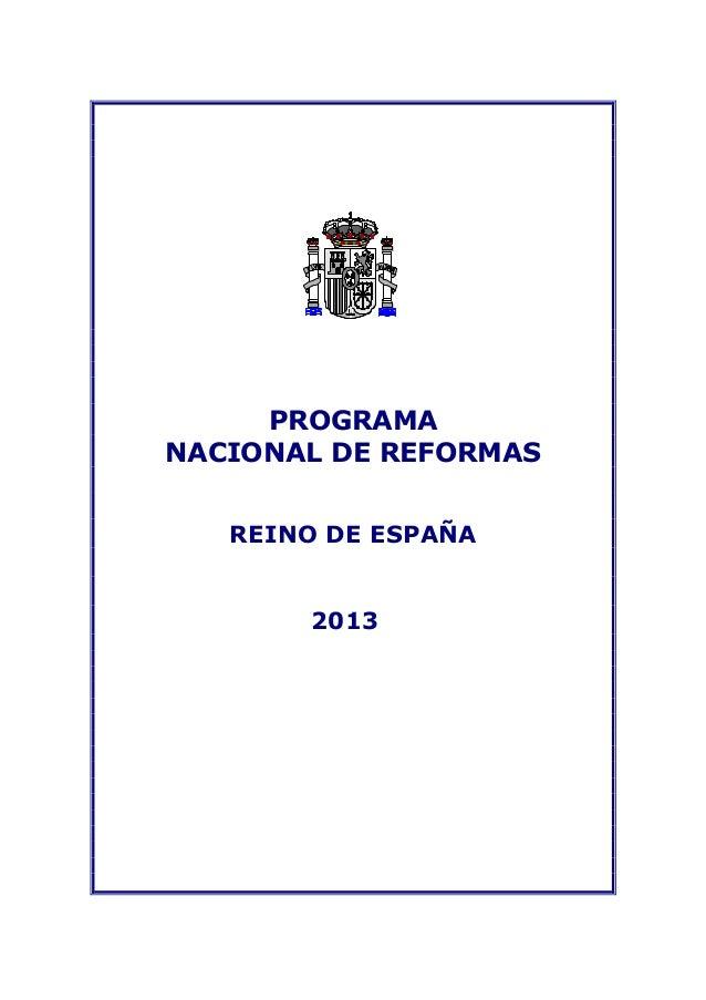 PROGRAMANACIONAL DE REFORMASREINO DE ESPAÑA2013