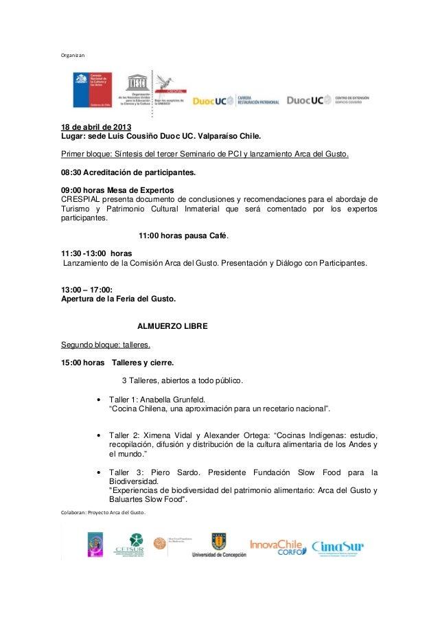 Programa Seminario de Patrimonio Cultural Inmaterial 2013 Slide 3