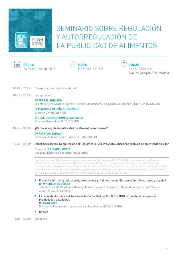 1/2 09:00 - 09:15h  Recepción y entrega de material 09:15 - 09:45h Inauguración Dª TERESA ROBLEDO Directora Ejecutiva de...