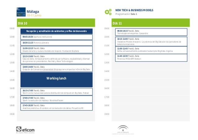 DIA 10 09:00 10:00 11:00 12:00 13:00 14:00 15:00 16:00 17:00 18:00 19:00 NEW TECH & BUSINESS MODELS Programación Sala 1 DI...