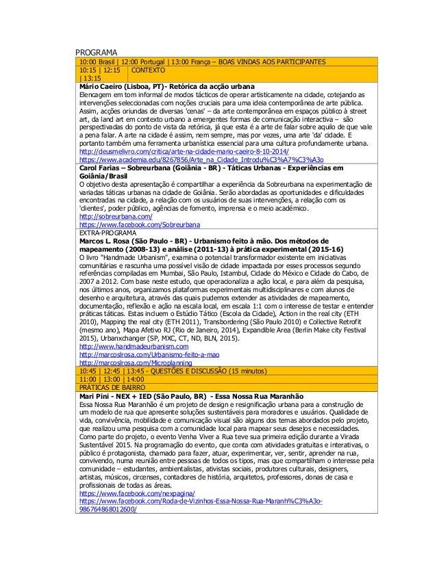 Programa 1.ª conferência online urbanismo tático Slide 2